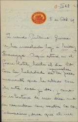Carta de Juan Martínez Penas a Guillermo Fernández-Shaw, comentándole el deseo de Jacinto Guerrero de volver a colaborar con él y hablando de otros asuntos teatrales.