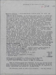 Carta de Juan Martínez Penas a Guillermo Fernández-Shaw y Federico Romero, diciéndoles que él como empresario se da cuenta de que el teatro no es buen negocio y contento de la conclusión del arriendo del Teatro de la Zarzuela.