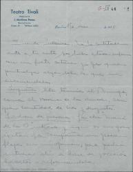 Carta de Juan Martínez Penas a Guillermo Fernández-Shaw, hablando de varios asuntos teatrales comunes.