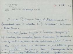 """Carta de Juan Martínez Penas a Guillermo Fernández-Shaw, diciéndole que ha recibido la conformidad del reparto de """"La labradora"""" y siguen los ensayos."""
