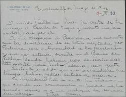 Carta de Juan Martínez Penas a Guillermo Fernández-Shaw, diciéndole que tiene en su poder dos letras devueltas aceptadas por Federico Romero, agradeciéndole le indique la solución para resolverlo.