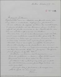"""Carta de Pierre de Vignier a Guillermo Fernández-Shaw, hablando de sus sentimientos y asuntos personales y diciendo que sigue traduciendo """"Hymeneo"""" en sus horas libres."""