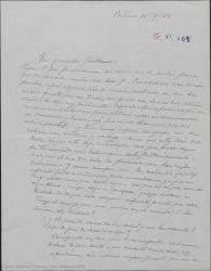 """Carta de Pierre de Vignier a Guillermo Fernández-Shaw, tocando temas personales y preguntando por """"Bolero"""" y """"La lección de fray Juan de la Cruz""""."""