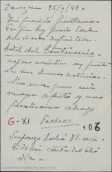 Tarjeta postal de Pierre de Vignier a Guillermo Fernández-Shaw, enviándole las señas de su nuevo domicilio.