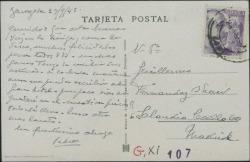 Tarjeta postal de Pierre de Vignier a Guillermo Fernández-Shaw, felicitándole y comentando que está buscando un hotel mas barato para su estancia en Zaragoza.