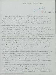Carta de Pierre de Vignier a Guillermo Fernández-Shaw, interesándose por su salud, comentando sobre la censura y sobre las dificultades de los negocios teatrales en Cataluña.