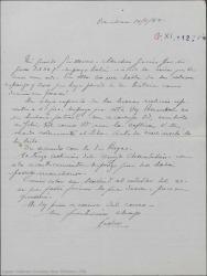 Carta de Pierre de Vignier a Guillermo Fernández-Shaw, dando un repaso a los temas teatrales que tienen pendientes.