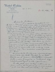 """Carta de Pierre de Vignier a Guillermo Fernández-Shaw, comentando que se ha enterado de que Enrique Rambal debuta con siete obras nuevas en el Teatro Cervantes entre las que no figura """"Sexto piso"""" y que eso le disgusta mucho."""