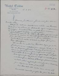 """Carta de Pierre de Vignier a Guillermo Fernández-Shaw, anunciando el estreno de """"Sexto piso"""" el sábado 18 en Sevilla donde han empezado ya los ensayos."""