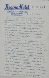 """Carta de Pierre de Vignier a Guillermo Fernández-Shaw, esperando con impaciencia noticias del estreno de """"Sexto piso"""" para comunicarselas a Gehri y comentando otros temas teatrales comunes."""