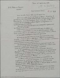 """Carta de Marcel Henrion a Federico Romero, diciéndole que Badet y Blum le han entregado el contrato relativo a la traducción de """"Doña Francisquita"""" al francés y que quiere hacer algunas modificaciones en el mismo."""