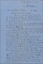 """Carta de André de Badet a Federico Romero, diciéndole que espera recibir el contrato anunciado en relación a la traducción al francés de """"Doña Francisquita"""" que ya tiene empezada. También habla del estreno de la obra en Montecarlo."""