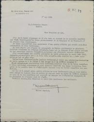 """Carta de Marcel Henrion a Federico Romero, diciéndole que André Badet le tiene al corriente de """"Doña Francisquita"""" y hablándole de una comedia polaca por si les interesa para adaptarla."""