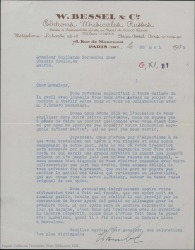 """Carta de W. Bessel a Guillermo Fernández-Shaw, diciendo que ha recibido el proyecto de contrato para la traducción al español de """"Tsar Saltan""""."""