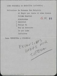 Carta de Luis Roldán a Guillermo Fernández-Shaw, pidiéndole se entere de los precios de las películas en una casa distribuidora ya que piensa comprar películas españolas para su difusión en Colombia y espera conseguir precios competitivos.