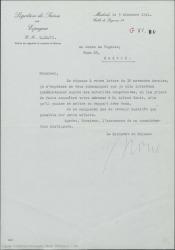 Carta de la Legación Suiza en España al Conde de Vignier, comunicándole que ha contactado con las autoridades competentes para saber las señas del señor Gehri.
