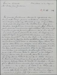 Carta de Pierre de Vignier a Guillermo Fernández-Shaw, tratando varios temas teatrales y hablándole de sus problemas.