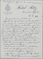 Carta de Pierre de Vignier a Guillermo Fernández-Shaw, adjuntándole una carta de Alfred Gehri y lamentando que Henri Chandebois aún no haya llegado.