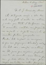 Carta de Jesús Guridi a Guillermo Fernández-Shaw, alegrándose con que encuentre acertadas sus ideas para la parte musical de su nueva zarzuela.