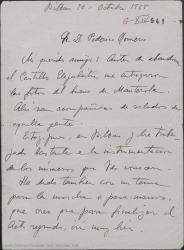 Carta de Jesús Guridi a Federico Romero, diciéndole que ha instrumentado varios números, dándoles varios nombres para el título de la obra.