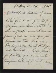 """Carta de Jesús Guridi a Federico Romero, pidiendo que le envíen el primer acto y enviando a su vez otros números y montruos para """"El caserío""""."""