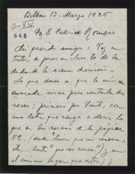 """Carta de Jesús Guridi a Federico Romero, mandando ideas y material de """"El caserío""""."""