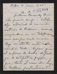 Carta de Jesús Guridi a Guillermo Fernández-Shaw, diciéndole que se habia extrañado por el silencio de Federico explicado por su enfermedad y comentanto que ha trabajo menos por sus quehaceres en el conservatorio y la parroquia.