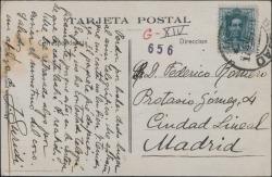 Tarjeta postal de Jesús Guridi a Federico Romero, diciéndole que le envía un paquete.