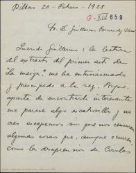 """Carta de Jesús Guridi a Guillermo Fernández-Shaw, entusiasmado con el primer acto de """"La meiga"""" pero preocupado por lo escabroso y atrevido del tema que teme no sea bien interpretado por los gallegos."""