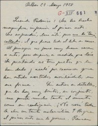 """Carta de Jesús Guridi a Federico Romero, sorprendido de que todo el libro de """"La meiga"""" sea en verso y preguntando si no será una obra un tanto melancólica como parece por el primer acto que ha leído."""