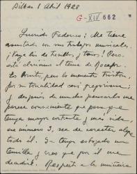 """Carta de Jesús Guridi a Federico Romero, hablando de """"La meiga"""", proponiendo dar un tono más alegre a alguno de sus números y quedando para verse después de trabajar el segundo acto para cambiar impresiones."""