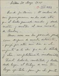 """Carta de Jesús Guridi a Guillermo Fernández-Shaw, preocupado por el caso moral de """"Cirolas"""", perosnaje importante de """"La meiga""""."""