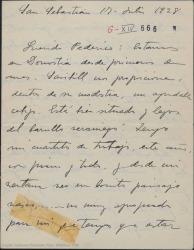 """Carta de Jesús Guridi a Federico Romero, contándole las días de descanso que se ha tomado y preguntando como va el tercer acto de """"La meiga""""."""