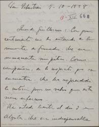 """Carta de Jesús Guridi a Guillermo Fernández-Shaw, comentando la noticia de la muerte de Eduardo Granados, sigue trabajando sin descanso para ver """"La meiga"""" terminada en la fecha indicada."""