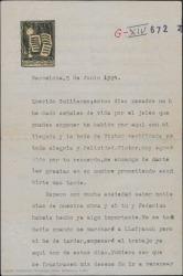 Carta de Eduardo Granados a Guillermo Fernández-Shaw, pidiéndole noticias sobre la obra en que colaboran y diciéndole que su cambio de residencia no impedirá seguir con su colaboración.