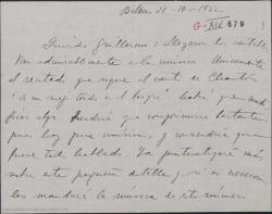 """Carta de Jesús Guridi a Guillermo Fernández-Shaw, acusando recibo de unos cantables de """"Mirentxu""""."""