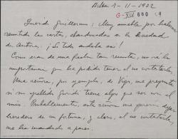 """Carta de Jesús Guridi a Guillermo Fernández-Shaw, mandando unos monstruos de """"Mirentxu"""" y agradeciendo el envío de unas cartas abandonadas en la Sociedad de Autores de España."""