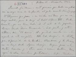 Carta de Jesús Guridi a Guillermo Fernández-Shaw, agradeciendo una gestión con la familia de Amadeo Vives y comentando el éxito de algunas reposiciones teatrales.