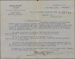 """Carta de Juan Figuera a Guillermo Fernández-Shaw, remitiéndole un talón con la cantidad convenida por derechos de la película """"La Revoltosa"""" para que él reparta el dinero con los herederos de los otros dos autores."""