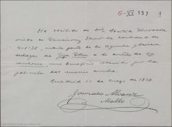 """Recibo de Cecilia Iturralde, madre de Guillermo Fernández-Shaw, a Gonzalo Álvarez Mallo, tío de José López Silva, entregando una cantidad de los beneficios por la película """"La Revoltosa""""."""