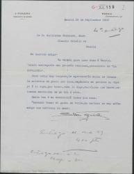 """Carta de Juan Figuera a Guillermo Fernández-Shaw, pidiéndole pase por su casa para entregarle una cantidad por derechos de """"La Revoltosa"""" para que él reparta el dinero con los herederos de los otros dos autores."""