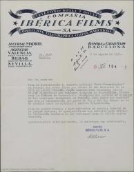 """Carta de la compañía Ibérica Films a Guillermo Fernández-Shaw, comentando que necesita su permiso para que le proporcionen las letras de las canciones de """"Doña Francisquita"""" en francés para la distribución de la película en Francia."""