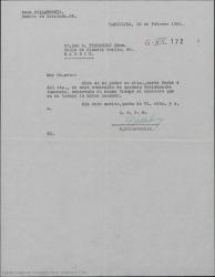 """Carta de Geza Pollatschik a Guillermo Fernández-Shaw, acusando recibo de su carta en la que le notificaba el fracaso de las gestiones para llegar a firmar un contrato para el rodaje de la película """"La Revoltosa"""" tl como habían preparado entre los dos."""