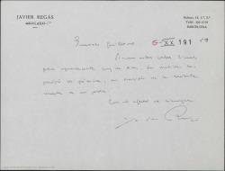 Carta de Javier Regás a Guillermo Fernández-Shaw, agradeciéndole el pésame por la muerte de su padre.