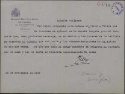 """Carta de Félix de Llanos y Torriglia a Guillermo Fernández-Shaw, disculpándose por no asistir a un homenaje a los autores de """"El caserío""""."""