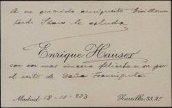 """Tarjeta de visita de Enrique Hauser felicitando a Guillermo Fernández-Shaw por el éxito de """"Doña Francisquita""""."""