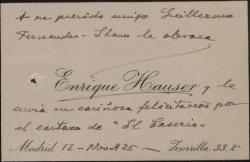 """Tarjeta de visita de Enrique Hauser felicitando a Guillermo Fernández-Shaw por el éxito de """"El caserío""""."""