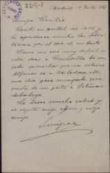 Carta de Enrique Hauser a Cecilia Iturralde, madre de Guillermo Fernández-Shaw, agradeciéndole su felicitación por el día de su santo.