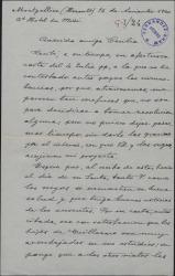 Carta de Enrique Hauser a Cecilia Iturralde, madre de Guillermo Fernández-Shaw, agradeciéndole el interés que se toman por sus proyectos ella y los suyos.