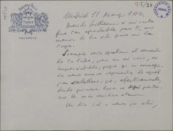 Carta de Federico García Sanchiz a Guillermo Fernández-Shaw, recordando a su padre.
